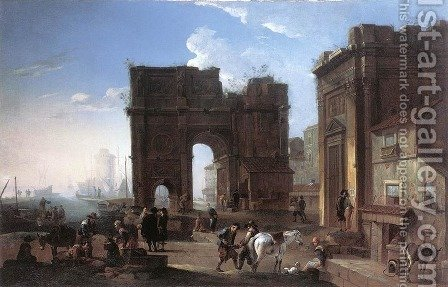 Harbour View with Triumphal Arch by Alessandro Salucci - Reproduction Oil Painting