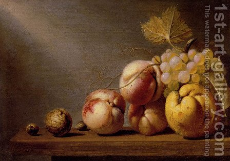A Still Life Of Paeches, Grapes, A Quince, A Walnut And Two Hazelnuts On A Wooden Table by Harmen Steenwijck - Reproduction Oil Painting