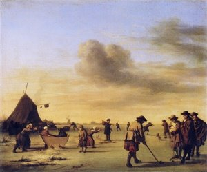 Famous paintings of Golf: Kolf on the Ice near Haarlem