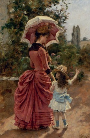 Famous paintings of Parasols and Umbrellas: Mother And Child
