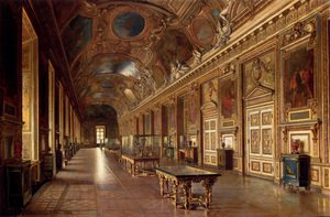 Famous paintings of Paintings of paintings: La Galerie D'Apollon Au Louvre