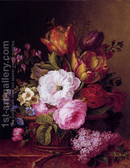 Panier De Fleurs by Amelie-Pauline Oberlin - Reproduction Oil Painting