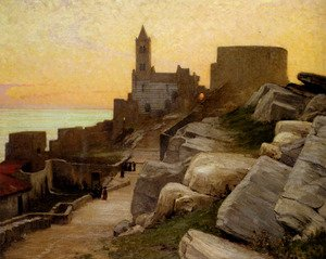 Famous paintings of Villages: Mediterranean Village At Sunset