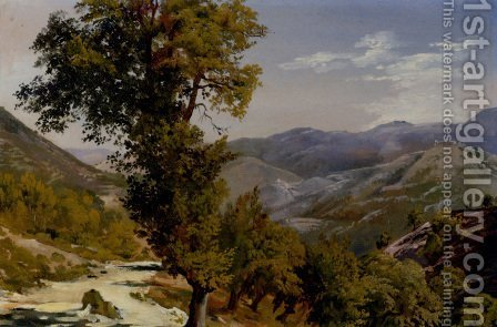 A Mountain View With A Path by Giovanni-Battista Camuccini - Reproduction Oil Painting