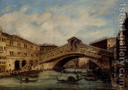 The Rialto Bridge, Venice by Giovanni Grubacs - Reproduction Oil Painting