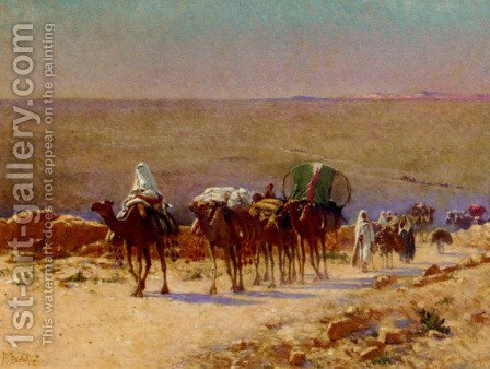 The Caravan In The Desert by Alexis Auguste Delahogue - Reproduction Oil Painting