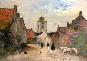 Famous paintings of Villages: A View in Katwijk