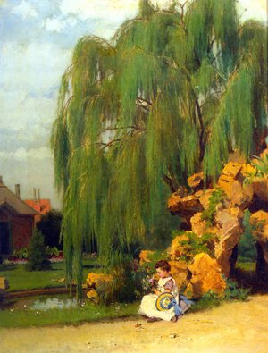Famous paintings of Pools: A Girl Arranging Flowers by a Willow
