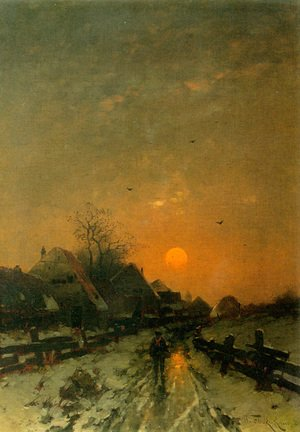 Famous paintings of Villages: Traveler on a Snowy Track at Sunset
