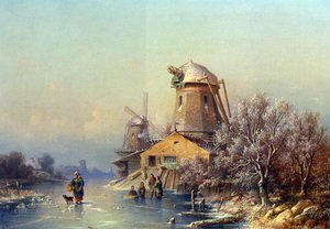 Famous paintings of Villages: A Winter Landscape with Figures on a Frozen Waterway