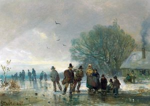 Famous paintings of Ice skating: A Skating Party