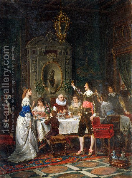 The Toast by Herman Maurice Cossmann - Reproduction Oil Painting