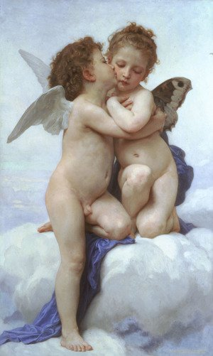 Famous paintings of Clouds & Skyscapes: L'Amour et Psyche, enfants (Cupid and Psyche as Children)