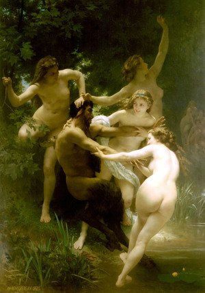 Academic Classicism painting reproductions: Nymphes et Satyre (Nymphs and Satyr)