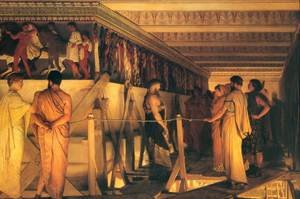 Reproduction oil paintings - Sir Lawrence Alma-Tadema - Phidias Showing the Frieze of the Parthenon to his Friends