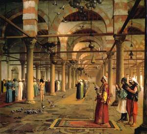 Reproduction oil paintings - Jean-Léon Gérôme - Public Prayer in the Mosque of Amr, Cairo