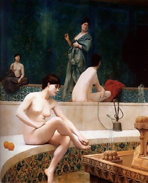 Reproduction oil paintings - Jean-Léon Gérôme - A Bath, Woman Bathing Her Feet (or Harem Pool)