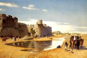 Famous paintings of Camels: An Arab Caravan outside a Fortified Town, Egypt