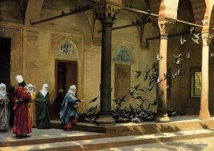 Reproduction oil paintings - Jean-Léon Gérôme - Harem Women Feeding Pigeons in a Courtyard