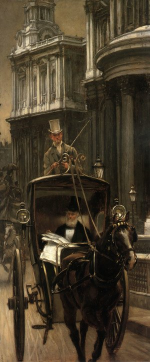 Reproduction oil paintings - James Jacques Joseph Tissot - Going to Business (or Going to the City)
