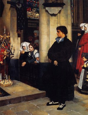 Neo-Classical painting reproductions: During the Service (or Martin Luther's Doubts)