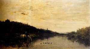 Reproduction oil paintings - Charles-Francois Daubigny - Chevaux Au Bord De L'Oise