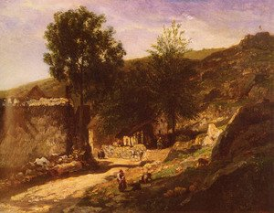 Reproduction oil paintings - Charles-Francois Daubigny - Entree De Village (Entering the Village)