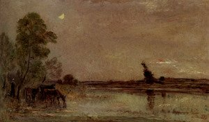 Reproduction oil paintings - Charles-Francois Daubigny - L'Abreuvoir, Effet De Lune