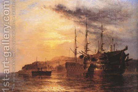 A Three Deck laying by a Hulk with a Steamship heading to shore off the Devonshire coast by Henry Thomas Dawson - Reproduction Oil Painting