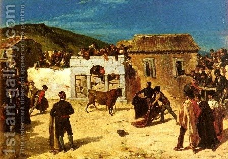 Combat De Novillos (The Bull Fight) by Alfred Dehodencq - Reproduction Oil Painting