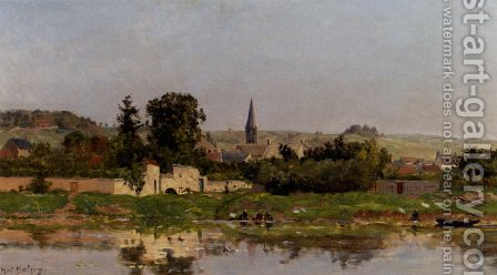 Lavandieres Au Bord De L'Eau by Hippolyte Camille Delpy - Reproduction Oil Painting