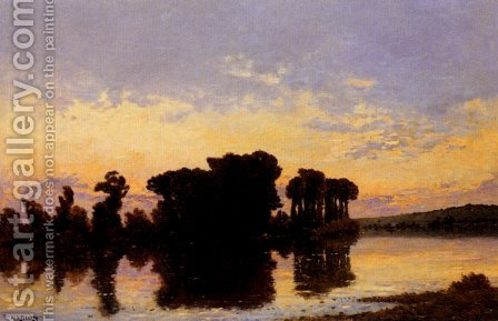 Soleil Couchant Sur La Seine Pres Nantes by Hippolyte Camille Delpy - Reproduction Oil Painting