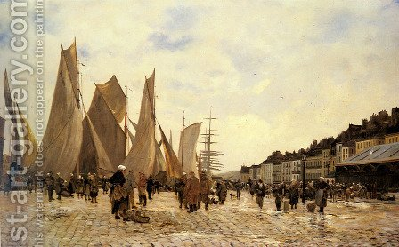 The Docks at Dieppe by Hippolyte Camille Delpy - Reproduction Oil Painting