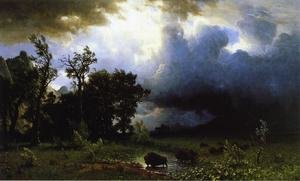 Reproduction oil paintings - Albert Bierstadt - Buffalo Trail (or The Impending Storm)