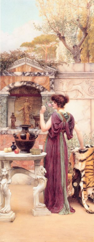 Reproduction oil paintings - John William Godward - At the Garden Shrine, Pompeii