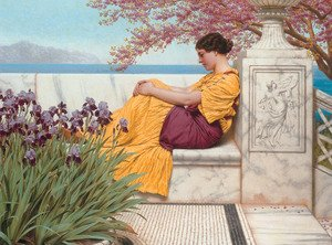 Reproduction oil paintings - John William Godward - 'Under the Blossom that Hangs on the Bough'