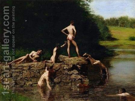 Thomas Cowperthwait Eakins: Swimming - reproduction oil painting