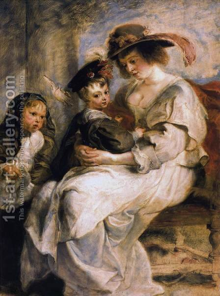 Helene Fourment With Two Of Her Children, Claire-Jeanne And Francois by Rubens - Reproduction Oil Painting