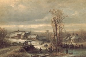 Famous paintings of Ice skating: Muhle an Der Sempt in Oberbayern