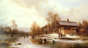 Famous paintings of Ice skating: Skaters and Washerwomen in a Frozen Landscape