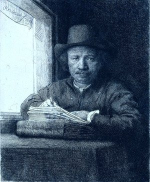 Reproduction oil paintings - Rembrandt - Rembrandt drawing at a window