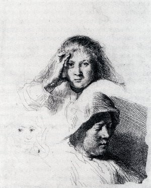 Reproduction oil paintings - Rembrandt - Sheet Of Sketches With A Portrait Of Saskia