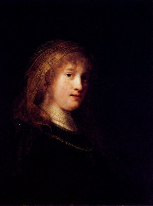 Reproduction oil paintings - Rembrandt - Saskia Wearing A Veil