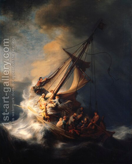 Rembrandt: Christ In The Storm On The Sea Of Galilee - reproduction oil painting