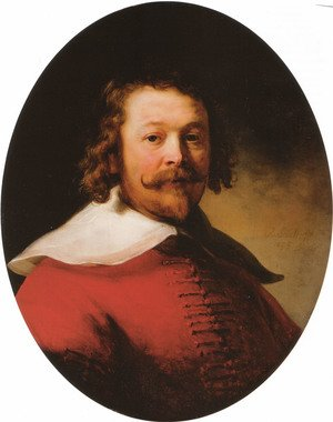 Reproduction oil paintings - Rembrandt - Portrait of a bearded man, bust-length, in a red doublet