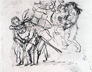 Reproduction oil paintings - Rembrandt - Three Sketches Of The Prodigal Son With A Whore (detail)