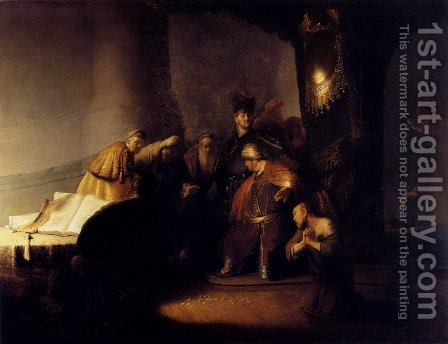 Repentant Judas Returning The Pieces Of Silver by Rembrandt - Reproduction Oil Painting