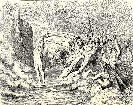 The Inferno, Canto 21, lines 50-51: This said, They grappled him with more than hundred hooks by Gustave Dore - Reproduction Oil Painting