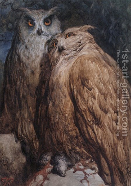 Two Owls by Gustave Dore - Reproduction Oil Painting