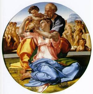 Reproduction oil paintings - Michelangelo - The Holy Family with the Infant John the Baptist (or The Doni tondo)